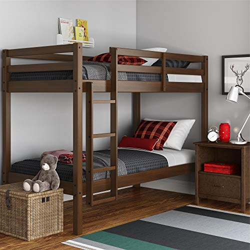 Dorel Living Indiana Solid Wood Beds with Ladder and Guardrail, Mocha Twin Bunk