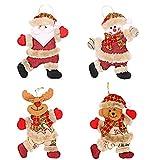 Bimkole Juego de 4 colgantes de árbol de Navidad con diseño de reno de peluche a cuadros para colgar decoración para el hogar, jardín, Navidad, decoración de regalo para añadir ambiente festivo.