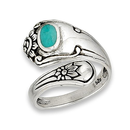Open Simulated Turquoise Unique Vintage Spoon Ring Sterling Silver Thumb Band Size 6