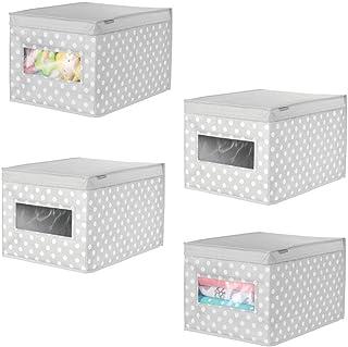 mDesign boîte de Rangement en Tissu (Lot de 4) – Panier de Rangement empilable pour vêtements ou Chaussures – bac de Range...