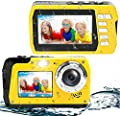 Waterproof Camera Underwater Camera 10 FT 2.7K Full HD 48MP 16X Digital Zoom Waterproof Digital Camera Self-Timer Dual Screens Anti Shake for Snorkeling, Travel and Vacation from YINDIA