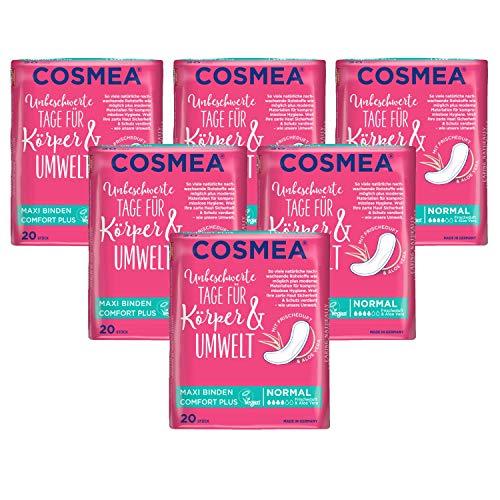 Cosmea Maxi Binden Normal mit Aloe Vera Duft Vorteilspack (6 x 20 Stück), Hygiene-Einlagen aus nachwachsenden Rohstoffen. Damen-Hygiene im Einklang mit der Natur