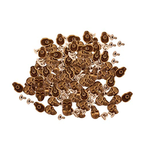 Lot de 100 rivets en métal en forme de tête de mort Trimming Shop avec épingles pour bricolage de vêtements en cuir et casquettes, 9 mm x 15 mm - Bronze