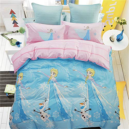 Cenarious Frozen Princess Elsa Olaf Anime Cartoon Bedding Set Boys Girls Kids 100% Cotton Duvet Cover and Pillow Cases and Fitted Sheet - Girls - 4 Pieces - Queen
