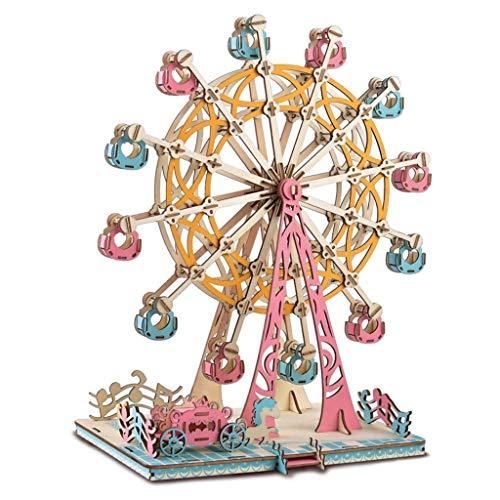 SJYDQ MKJHEDLSC Handmade Puzzle,Ferris Wheel Model 3D Wooden Puzzle Jigsaws Kit DIY Hand Craft Pieces