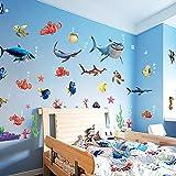 PISKLIU Wandsticker Wandfiguren Haifisch Wandaufkleber Marine Design Traum Bad Wandaufkleber Aufkleber Kind Bad Wohnkultur 45 * 60 cm