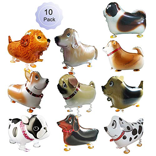 GenMo Walking Balloons Dog Animals Walking Balloon Set Kids Pet Dogs Birthday Party Supplies Animal Theme Balloons Toys Baby Puppy Air Walkers Gift Party Decorations 10 Pack