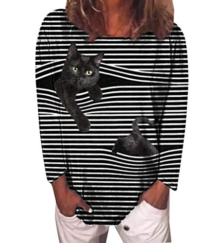 shownicer Damen Sweatshirt Winter Tshirt Langarm Top Cartoon Druck 3D Katzen-Muster Langarmshirt Weihnachten Pulli Freizeit Bluse Herbst Shirts Hemd Rundhals Pullover Stil 3 L