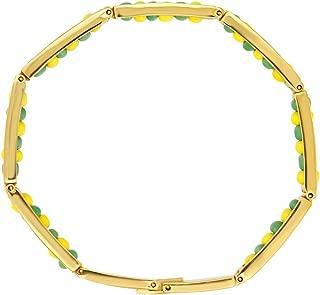 Gold Stainless Steel Link Wristband Bracelet Beads Green Yellow ORULA Unisex 8