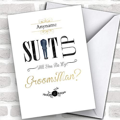 Gepersonaliseerde aangepaste bruiloft S man pak up zal je mijn Groomsman kaart
