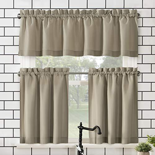 """No. 918 Martine Microfiber 3-Piece Kitchen Curtain Set, 54"""" x 36"""", Taupe"""