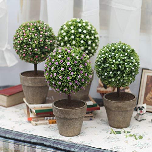 ZMXZMQ Plantas Artificiales En Macetas, Árbol Artificial En Forma De Bola Flor De Hierba Verde Fresca Falsa, para Baño Decoración De La Casa,A+b+c+d