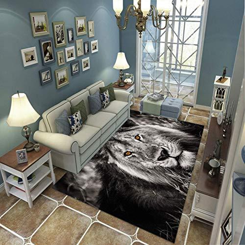 PHhomedecor Alfombra Suave, Moderno Estilo Decoración Alfombras, Niños Gateando Manta, Arte De Impresión 3D León Viejo, 120(H) X170(W) Cm Moqueta para Dormitorio Y Salón O Habitación Infantil
