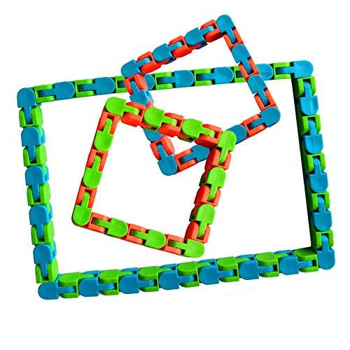 LRIO Simple Dimple Fidget Toy,Marble Mesh Fidget Toy,Fidget Box,Funny 24 Knot Fidget Chain Anti Stress Toys For Kids Adults Jigsaw Puzzle Educational Toys, Assorted Colors,24 & 48 Links 3 Pieces