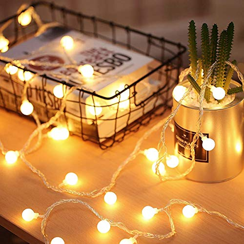 Globe String Lights 2 Lighting Modes, 16ft 40LEDs Ball IP65 Fairy Lights, Battery Powered, Decoractive for Indoor Outdoor Lighting, Bedroom, Wedding, Party, Christmas, Tree Decoration(Warm White)