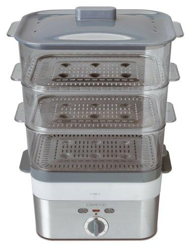 Kenwood FS 620 Elektrische Dampfgarer 2000 Watt / 60 Minuten Timer / 12 Liter / 3 Transparente Körbe stapelbar mit Korbeinlagen