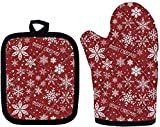 Buybai Christmas Snowflake Oven Mitts with Pot Holder, Extra Durable Cotton Kitchen Protector Gloves for Cooking Baking Grilling BBQ, Slipfree Surface Gloves