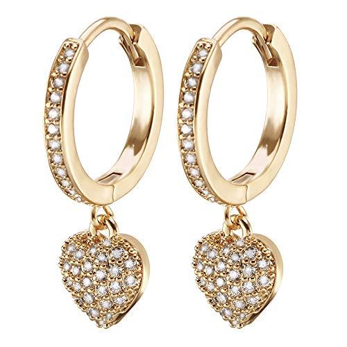 Orecchini pendenti a forma di cuore da donna, ipoallergenici, placcati in oro rosa e argento con zirconi cubici brillanti