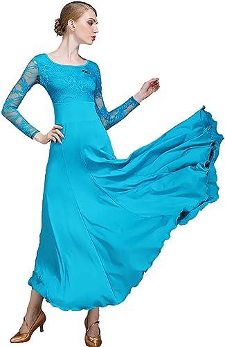 DHTW&R Femmes Adulte Danse Jupe Les Robes Manches Longues Col Rond Flexible étape Les Costumes élégant Fête Concurrence Robe