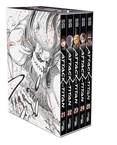 Attack on Titan, Bände 21-25 im Sammelschuber mit Extra: Atemberaubende Fantasy-Action im Kampf gegen grauenhafte Titanen