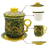 HOLLIHI Porcelain Tea Cup with Lid and Saucer Infuser Sets - Chinese Jingdezhen Ceramics Coffee Mug Teacup Loose Leaf Tea Brewing System for Home Office