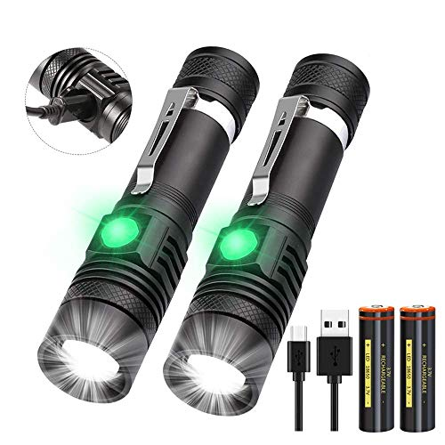 Taschenlampe LED USB Aufladbar, (Inklusive 2 stück 18650 Akku) Mini Taschenlampen, Banral Extrem Hell Einstellbarer Fokus Wasserdicht Taktische Taschenlampe mit 4 Modi, für Outdoor Camping Notfall.