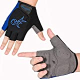 MOREOK Cycling Gloves Mountain Bike Gloves 5MM SBR Pad Shock-Absorbing Anti- Slip Breathable MTB DH Road Bicycle Gloves for Men Women Blue-XXL