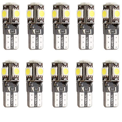 Qoope- 10 Stück T10 12V Canbus Fehlerfreie Glühlampen ersetzen die Lampe 194 168 501 (12V-Weiß)