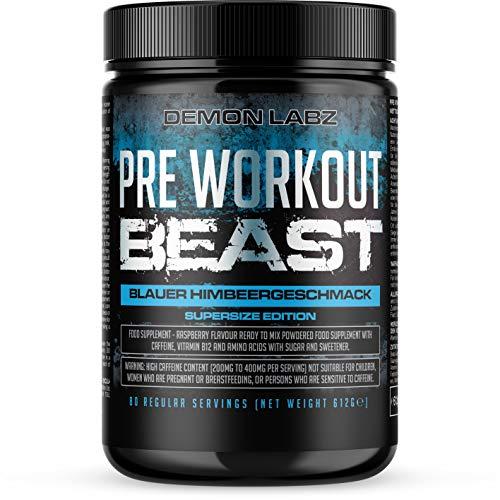 Pre Workout Beast - Pre Workout Booster mit Vitamin B12, was zur Verringerung von Müdigkeit & Ermüdung beiträgt - Mit Koffein, Beta Alanin und Glutamin (Blauer Himbeergeschmack - 612g)