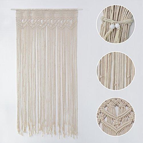 Zebroau Tapiz de macramé hecho a mano para colgar en la pared, cortina de cuerda de algodón bohemio hecha a mano, para decoración de bodas de interiores al aire libre