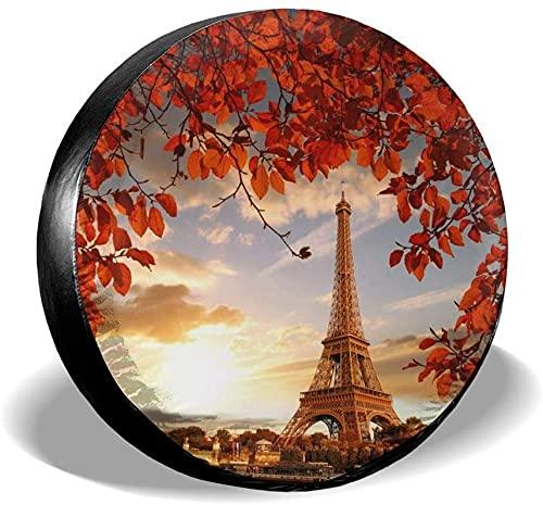 Cubierta para llanta de repuesto de la Torre Eiffel y hojas rojas,poliéster,universal,de 15 pulgadas,cubierta para llanta de repuesto para remolques,casas rodantes,SUV,ruedas de camiones,camiones,car
