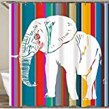 LISNIANY Rideau de Douche,Conception Graphique Éléphant Clipart vectoriel,Lavables 180x180cm