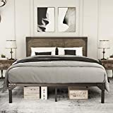 Amolife Queen Bed Frame with Rivet Industrial Headboard,Heavy Duty Metal Platform Bed Frame with Strong Slat Supports,Mattress Foundation,Snow Brown