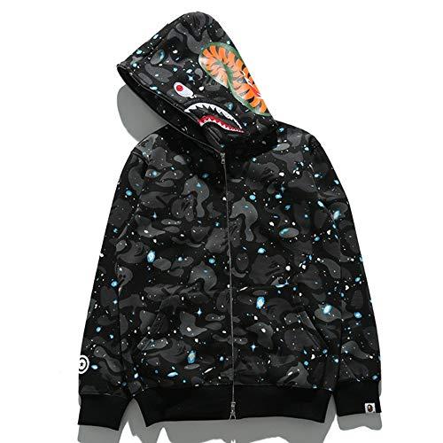 UnisexHoodie Pullover WGM Shark Camouflage Zipper Lose Sweatershirt Kapuze Lange Hülsen-Jacke A-M