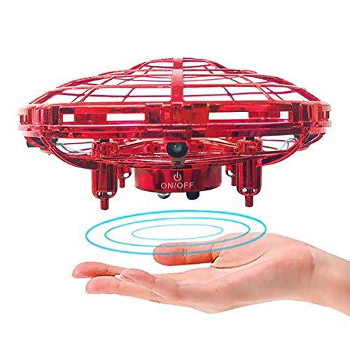 JIAMA Mini Drone pour Enfants ou Adultes, RC Flying Ball UFO Drone Jouet Hélicoptères avec lumière LED Drone Flying Jouets Tournant à 360 ° contrôle d'induction Cadeaux+ Manuel en Français (Rouge)