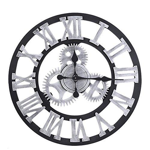 Fdit Horloge murale vintage 3D, rustique, faite à la main, grande décoration vintage en bois pour salon (80 cm, argenté)