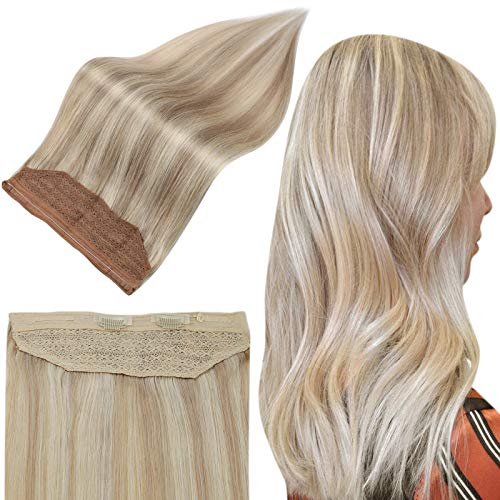 Full Shine Human Hair Wire Extensions 16inch Color #18/613 Caramel Blonde Highlight with Blonde 80 grams Real Halo Hair Extensions in Human Hair