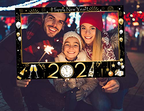 2021 Happy New Years Eve Photo Booth Prop Frame for Holiday Gold Black Party Favors Decorations Supplies Assembly Needed