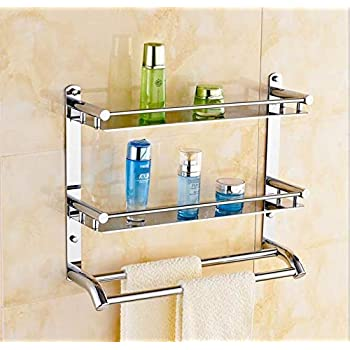 Welson Stainless Steel Double Layer Shelf with Towel Road,Multipurpose Bath Shelf Organizer,Kitchen Shelf/Towel self/Bathroom Shelf /bathroom stands and racks/Bathroom Accessories-Chrome Finish(Made in India) (17*18 Inch)