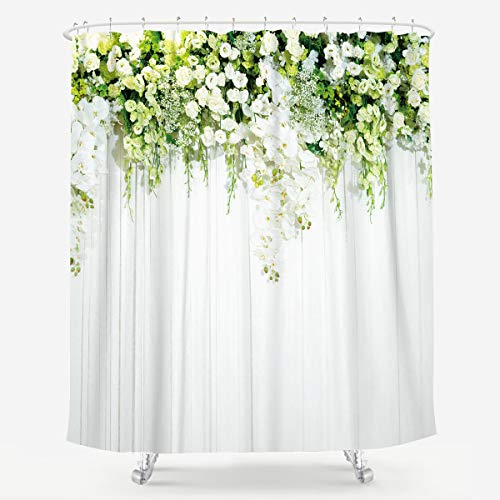 White Green Rose Shower Curtain Bridal Flowers Great Painting Natural Plant Scenery Floral Elegant Woman Fabric Waterproof Home Bathtub Decor Celebrating Theme 12 Pack Plastic Hook 72x72 Inch