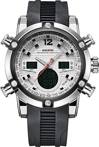 WEIDE hombres del deporte militar analógico digital de goma reloj con mecanismo de cuarzo Dual tiempo automático FECHA (blanco)