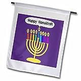 3dRose fl_112818_1 Purple Happy Hanukkah Smiley Menorah-Cute Channukia Cartoon for Chanukkah Garden Flag, 12 by 18-Inch