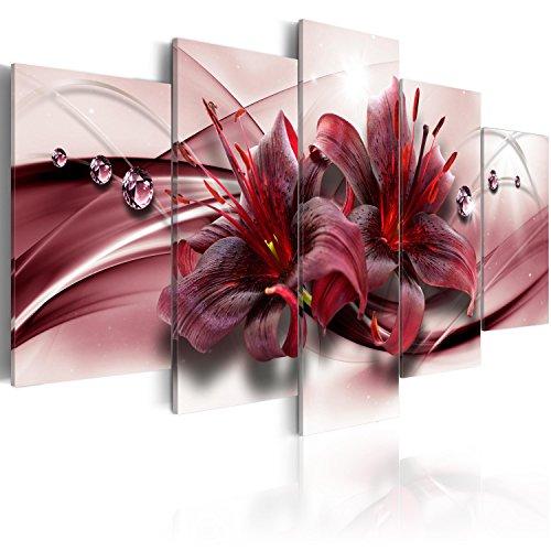 murando Acrylglasbild Blumen 200x100 cm 5 Teilig Wandbild auf Acryl Glas Bilder Kunstdruck Moderne Wanddekoration - Lilien Abstrakt Diamant b-C-0155-k-n
