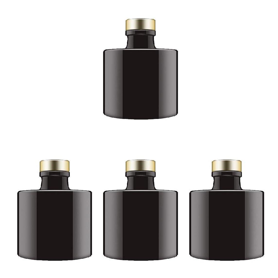 遠い調停者トラクターFeel フレグランスブラックガラスディフューザーボトル ラウンドディフューザージャー ゴールドキャップ付き 4個セット 高さ2.95インチ 100ml 3.4オンス フレグランスアクセサリー DIY交換用リードディフューザーセットに使用。
