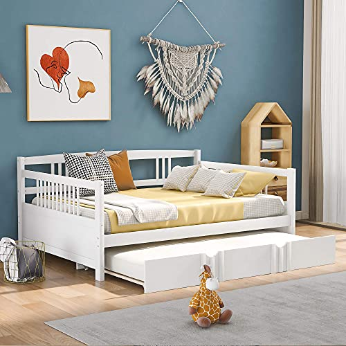 Full daybed met onderschuifbed, houten bed met twin size onderschuifbed, kapiteinsbed groot bedframe voor woonkamer, logeerkamer, kinderkamer (espresso)