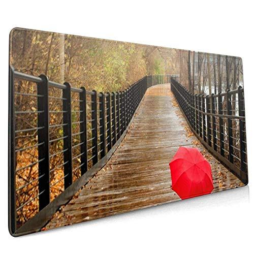 LFLLFLLFL XXL Mousepad,Gaming Mauspad Gaming Mauspad Roter Regenschirm auf Brücke wasserdichte Optimale Gleitfläche Anti Rutsch Gaming Matte Verbessert Präzision und Geschwindigkeit 800X300X3 mm