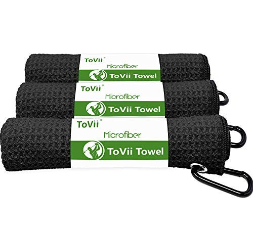 ToVii 3 Pack Golf Towel Microfiber Fabric Waffle Pattern with Heavy Duty Carabiner Clip Black