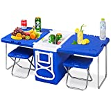 Giantex Multi Function Rolling Cooler Picnic Camping Outdoor w/ Table & 2 Chairs Blue
