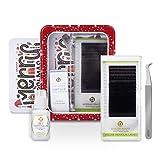 BEYELIAN Volume Eyelash Extensions Kit Christmas Gift Pack of .03mm Individual Lashes, AS09 Tweezers, Swift Glue for Professional Lash Stylists