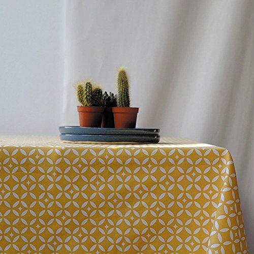 Fleur de Soleil N160ROEMOSJ Nappe ronde anti-tache imperméable Coton/Ourlée Mosaïque/Jaune 160 x 160 x 0,2 cm